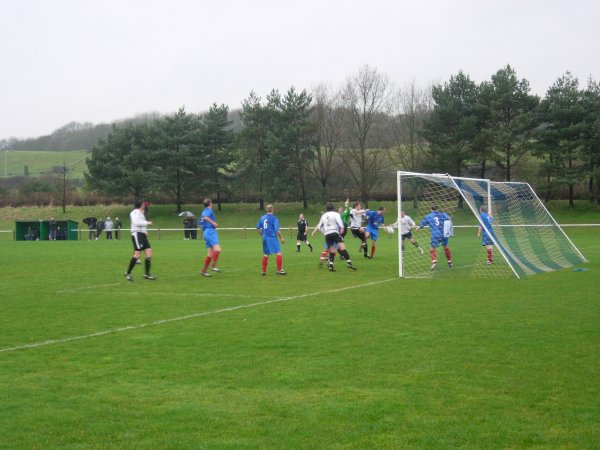Action in the AXA goalmouth