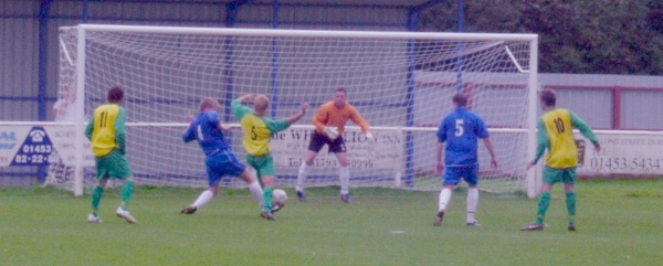 A saving tackle from a Slimbridge defender