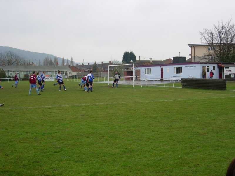 Tuffley head over Chris Fox's goal