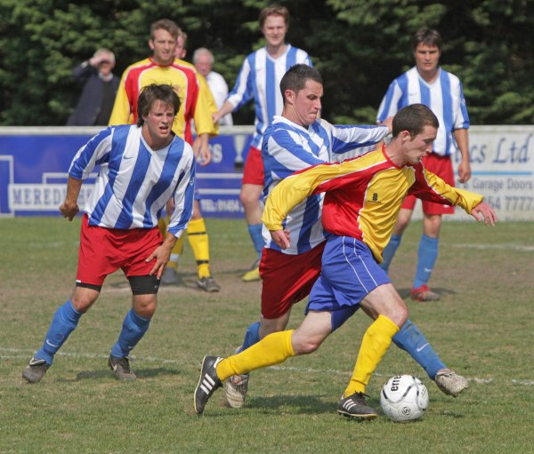 Action from Gloucestershire County League V Mid-Sussex Football League
