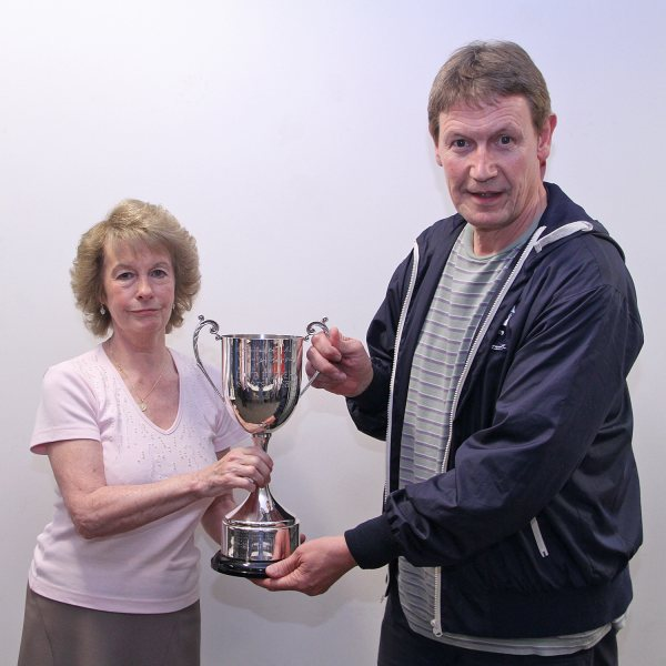 Gill Herbert presents the Dave Herbert Sportsmanship Cup to Mike Stratford Chairman of Taverners Football Club