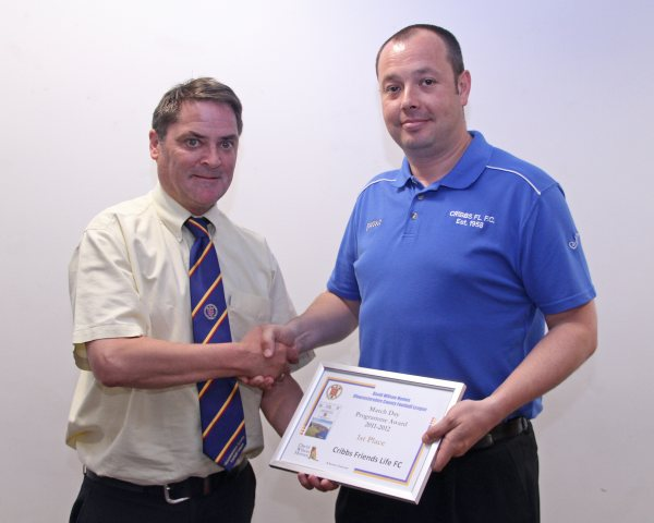 Simon Hartley Secretary of Cribbs Friends Life receiving the Best Programme Award from Fixture Secretary Mark Simpson
